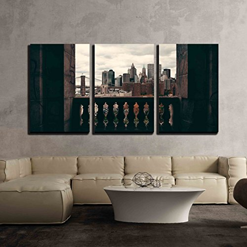 wall26 - 3 Piece Canvas Wall Art - New York City Downtown Architecture Skyline Through Abandoned Balcony. - Modern Home Decor Stretched and Framed Ready to Hang - 24