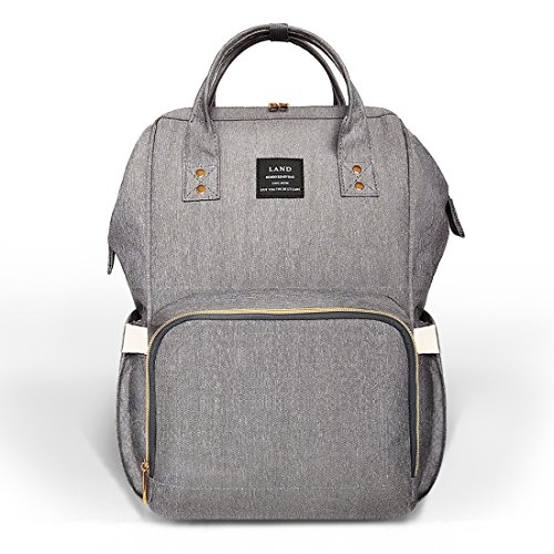Land diaper bag multi-function waterproof travel backpack nappy bags insulated compartment pockets wipes pocket (Gray)