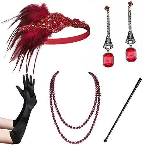 BABEYOND 1920s Flapper Gatsby Costume Accessories Set 20s Flapper Headband Pearl Necklace Gloves Cigarette Holder (Set-14) -