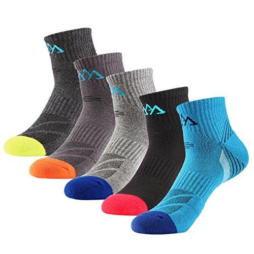 innotree Men's Hiking Socks, 5 Pairs Cotton Wicking Cushion Crew Socks, Lightweight Trekking Camping Walking Athletic Socks