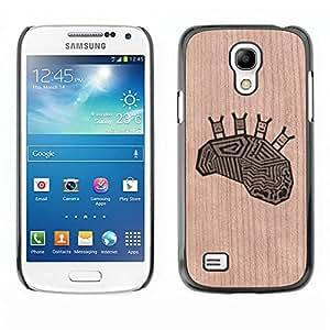 - / Brain Happy Funny Deep Image Smart - - Funda Delgada Cubierta Case Cover de Madera / FOR Samsung Galaxy S4 MiniI9190 I9192 I9195 / Jordan Colourful Shop/
