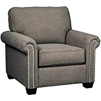 Benchcraft Gilman Collection 9260220 40 Chair with Rolled Arms Chenille Upholstery and Nail-Head Accents in