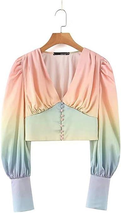 Camisa de gradiente Retro con Cuello en V Slim-Breasted Manga Larga gradiente Marea: Amazon.es: Ropa y accesorios