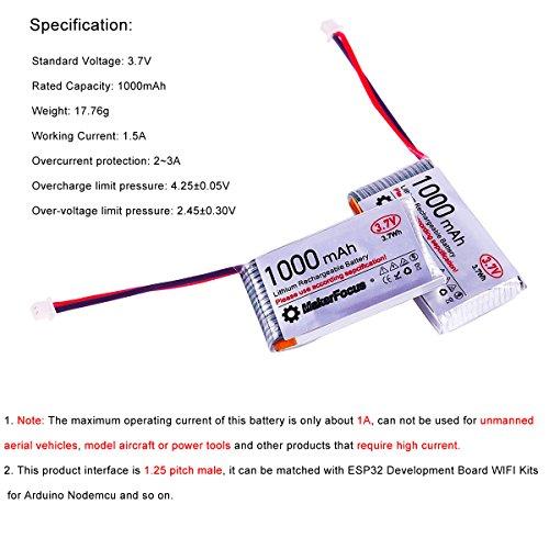 MakerFocus 4pcs 3 7V Lithium Rechargable Battery, 802540 3 7
