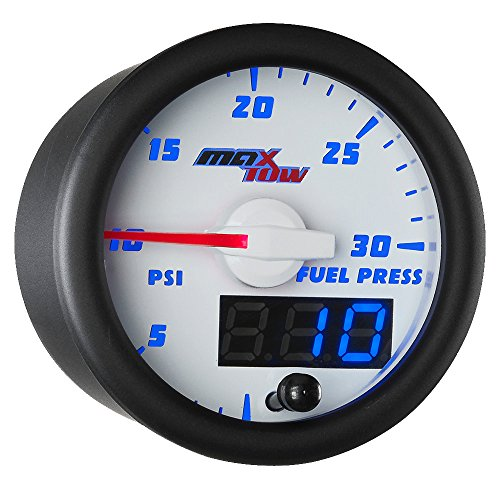 MaxTow Double Vision 30 PSI Fuel Pressure Gauge Kit - Includes Electronic Sensor - White Gauge Face - Blue LED Illuminated Dial - Analog & Digital Readouts - for Diesel Trucks - 2-1/16
