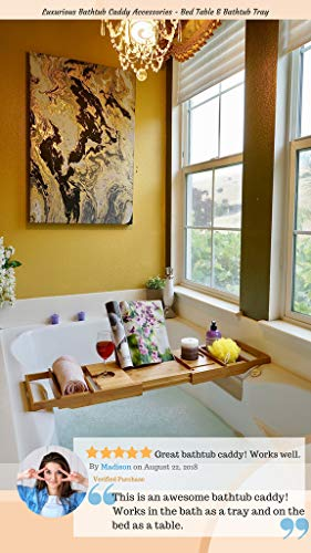 Bed Table & Bathtub Tray -- Combines bamboo bath tub caddy for relaxation and bed tray for productivity into 1 -- Luxurious bathtub caddy for bath accessories wine glass book iPad phone and laptop by Sugarwood Home (Image #2)