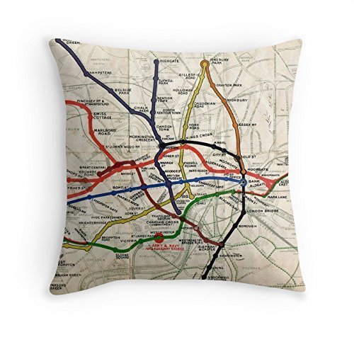 Cushion - Map - London Underground Map - 1908 - 51cm sq