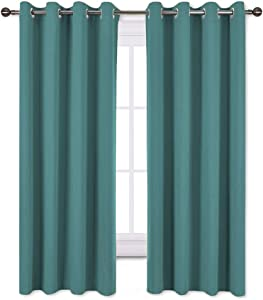 NICETOWN Blackout Curtains for Kids Room - Triple Weave Microfiber Home Thermal Insulated Solid Ring Top Blackout Panels/Drapes for Bedroom(Sea Teal, Set of 2, 52 x 63 Inch)