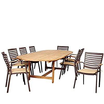 Amazonia Clementine 9 Piece Teak/Cast Aluminum Double Extendable Oval Dining Set with Tan Cushions - Amazonia Teak Collection Table dimensions: 87lx47wx29h Extended length: 118 Armchair dimensions: 25lx24wx35h Armchair seat dimensions: 19dx17wx17h Cushion thickness: 2in High Quality Teak Wood (Tectona Grandis) - patio-furniture, dining-sets-patio-funiture, patio - 51UEjGFU1HL. SS400  -