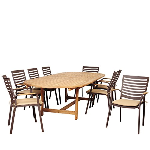 51UEjGFU1HL - Amazonia Clementine 9 Piece Teak/Cast Aluminum Double Extendable Oval Dining Set with Tan Cushions
