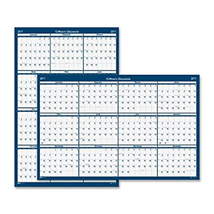 Cartel estilo reversible/calendario de pared anual borrable ...