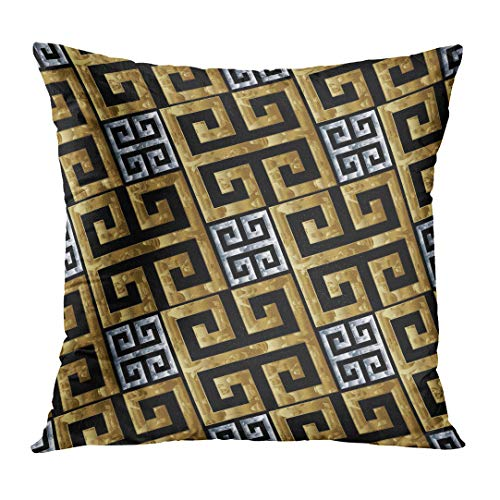 Greek Design Gold Square (Throw Pillow Cover Gold Silver Greek Key Meanders Geometric 3D Modern Ornate Design with Diagonal Ancient Ornaments Decorative Pillow Case Home Decor Square 20x20 Inches Pillowcase)
