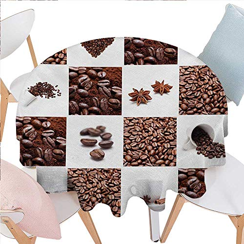 Kitchen Customized Round Tablecloth Coffee with Roasted Beans Concept Collage Hearts Stars Espresso Latte Mugs Aroma Round Tablecloth D54 Brown - Runner Table Cafe Latte