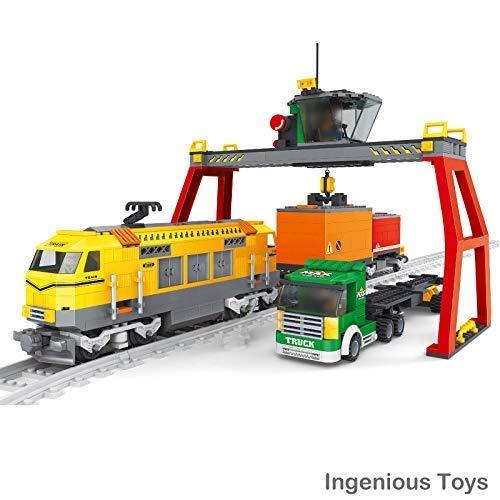 Cargo Set Treno Camion Contenitori Gru Città Ferrovia Creator 12pcs Binari  25004
