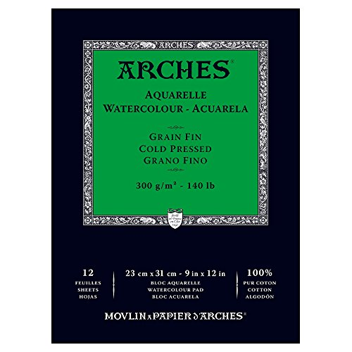 - Arches Watercolor Paper Pad, 140 pound, Cold Press, 9