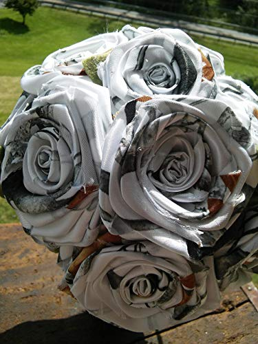 6 Snow White Camo Flower Single Stem DIY Bridal Build A Bouquet Camouflage Wedding Rose Centerpiece