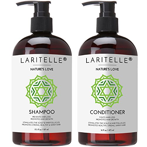 Laritelle Organic Shampoo 17 oz + Conditioner 16 oz | Prevents Hair Loss, Promotes Hair Growth | Organic Quinoa + Keratin + Rosemary, Ginger & Grapefruit | NO GMO, SLS, Gluten, Parabens, Phthalates