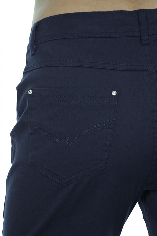 (1394-4) Womens Plus Size Stretch Jeans Diamante Rivets Navy Blue
