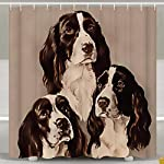 SARA NELL Shower Curtains English Springer Spaniel Portrait Pastel Shower Curtain Fabric Waterproof Fabric Bathroom Curtain Set with 12 Hooks - 72 x 72 Inch 7