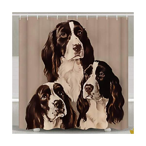 SARA NELL Shower Curtains English Springer Spaniel Portrait Pastel Shower Curtain Fabric Waterproof Fabric Bathroom Curtain Set with 12 Hooks - 72 x 72 Inch 2