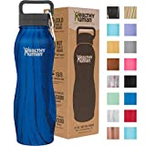 Healthy Human Curve Insulated Stainless Steel Water Bottle Thermos - Ideal for Sports, Outdoors, Men, Women & Kids. Leak Proof. Cold 24 Hours - Midnight Oak - 21 oz