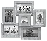 Malden International Designs Berkshire Beveled Wall Collage Picture Frame, 6 Option, 3-4x6 & 2-3x5 & 1-3x3, Gray