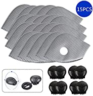 Activated Carbon Filters Replacements Parts Set of 15 Fit for Most Cycling Masks Filters with 6 Exhaust Valves