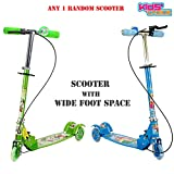 Kids Choice 3 Wheel Scooter Cycle Height Adjustable & Fold able with Hand break, Bell & Led Lights in Wheels (Green)