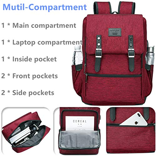 Vintage Backpack Anti Theft Laptop Backpack Men Women Business Travel Computer Backpack School College Bookbag Stylish Water Resistant Vintage Backpack with USB Port Fits 15.6 Inch Laptop