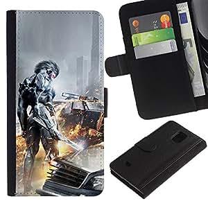 EJOY---Tirón de la caja Cartera de cuero con ranuras para tarjetas / Samsung Galaxy S5 Mini, SM-G800 / --Ciber Guerrero