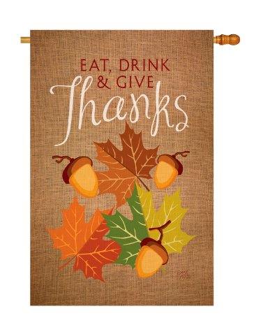 Cheap Breeze Decor H113052 Eat, Drink & Give Fall Thanksgiving Vertical House Flag, 28″ x 40″, Multicolor