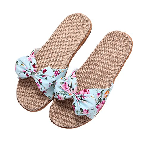 Cotton Slide - Memory Foam Flip Flop Slippers, Women's Summer Anti-Slip Sandals Slipper Flip-Flops For Indoor and Outdoor Blue 39-40