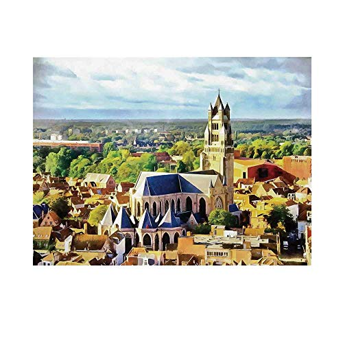(Medieval Decor Photography Background,Aerial Photo of Old Medieval Church and Gothic Town Middle Age Renaissance Europe Building Backdrop for Studio,10x6ft)