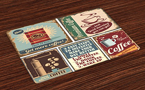 Lunarable 1950s Place Mats Set of 4, Coffee Posters and Signs Artistic Design Bean Cup Espresso Mug Cappuccino Logo Print, Washable Fabric Placemats for Dining Room Kitchen Table Decor, ()