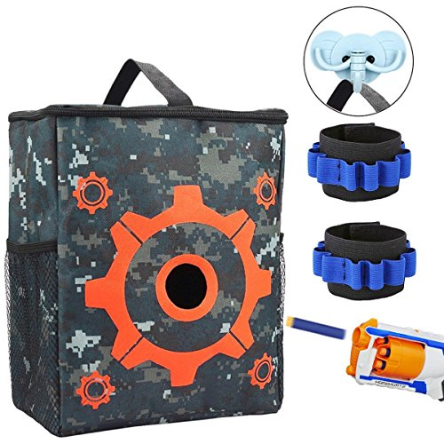 POKONBOY Target Pouch Storage Bag for Tactical Nerf Gun Games with 2 Dart Wrister Bands and Hook for Nerf N-strike Elite Mega Rival Series