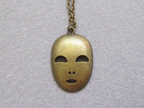 Anime Spirited Away No Face Necklace,antique Brass Mask Jewelry,handmade Necklace (Antique Faces Necklace)