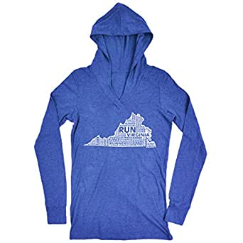 Gone For a Run Women's Lightweight Performance Hoodie Virginia State Runner Adult Small Blue