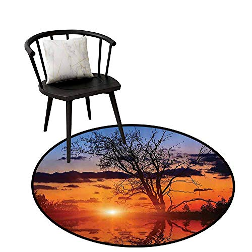Non-Slip Round Rug Apartment Decor Collection Easy to Care The Time When The Sun Disappears or Day Light Fades Image with Oak Tree Mirror Effect Orange Blue D35(90cm) ()