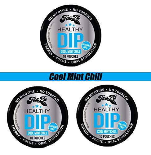 TeaZa Energy Smokeless Tobacco Alternative (3 Pack) Helps You Quit Chewing Tobacco Snuff - Nicotine Free Herbal Energy Dip - Flavored Tobacco Free Chew Helps You Quit Dipping - Cool Mint Chill