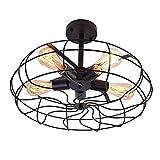 OYI Retro Industrial Fan Style Metal Cage Ceiling Light, 5 Lights Semi Flush Mount Rustic Pendant Light Lamp Hanging Light Fixture E26 Bulb Base (Black Color)