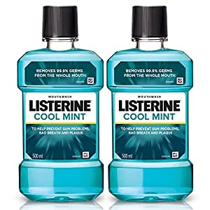 Listerine Cool Mint Mouthwash 500ml (Pack of 2)