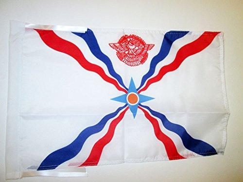 (AZ FLAG Assyria New Flag 18'' x 12'' Cords - Assyrian Small Flags 30 x 45cm - Banner 18x12)