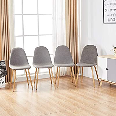Magshion Side Metal Legs Cushion Seat Back Dining Room Chairs Set of 4