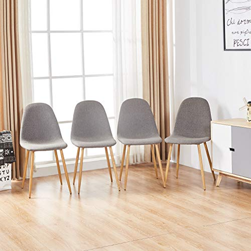 Magshion Side Metal Legs Cushion Seat Back Dining Room Chairs Set of 4 Fabric Grey
