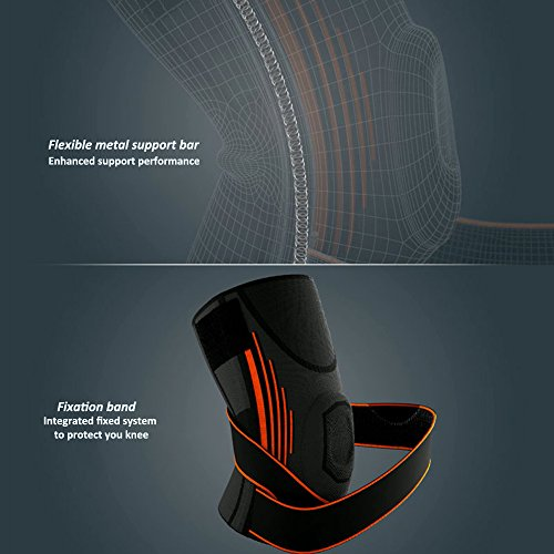 Compression Knee Sleeve/Knee Brace with Adjustable Strap and Silicone Ring for Running, Jogging, Sports, Joint Pain Relief, Arthritis and Injury Recovery Single Wrap By Weforever