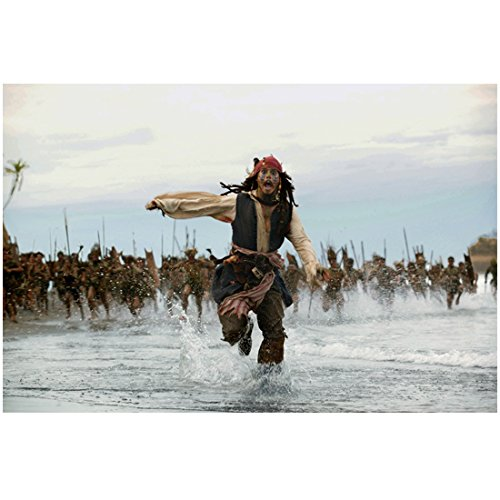 Pirates of the Carribean Johnny Depp as Cannibal Jack Running through water away from the Natives 8 x 10 Photo (Caribbean Jack Cannibal)