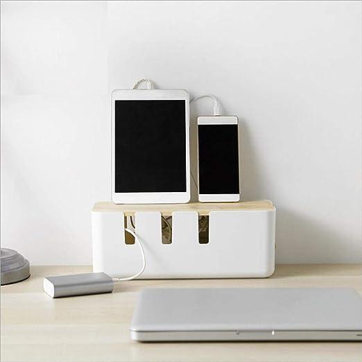 Caja de almacenamiento del organizador de gestión de cables de cable, elegante caja de almacenamiento de cables para escritorio, TV, computadora, concentrador USB,sistema para cubrir y ocultar y tiras: Amazon.es: Hogar