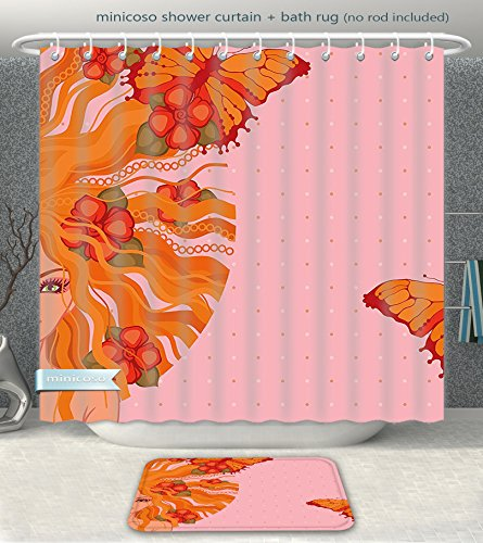 Minicoso Bathroom 2-Piece Suit Abstract Young Girl with Flowers on Her and Butterflies on Polka Dot Backdrop Beauty Orange Light Pink Shower Curtain And Bath Rug Set, 71