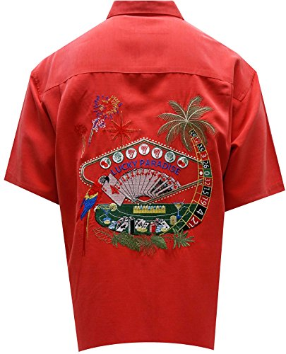 Bamboo Cay Men's Embroidered Lucky Paradise Tropical Style Camp Shirt (X-Large, Tomato) by Bamboo Cay