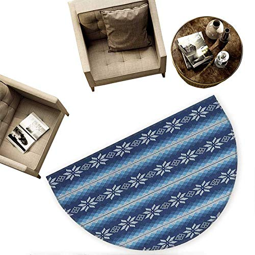 Winter Semicircular Cushion Traditional Scandinavian Needlework Inspired Pattern Jacquard Flakes Knitting Theme Entry Door Mat H 66.9'' xD 100.4'' Blue White